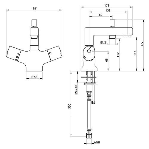 thermostatique de bain douche monotrou konfort 2840. Black Bedroom Furniture Sets. Home Design Ideas