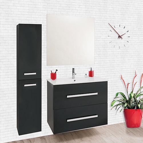 meuble a suspendre palmea 80cm gris 804255. Black Bedroom Furniture Sets. Home Design Ideas