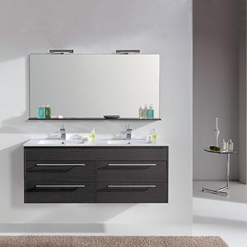 Meuble a suspendre grey duba 120cm 950503 for Meuble salle de bain a suspendre