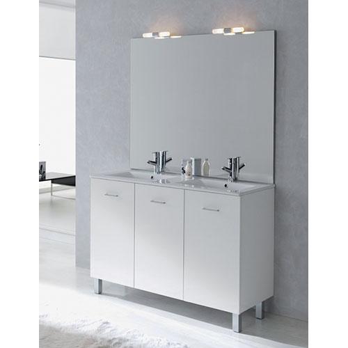 Meuble salle de bains new york blanc brillant 990120 for Salle de bain new york