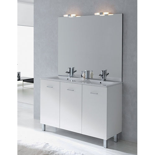 Meuble salle de bains new york blanc brillant hydrofuge for Meuble new york