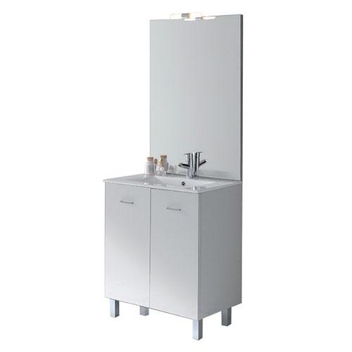 Meuble salle de bains new york blanc brillant 990800 for Salle de bain new york