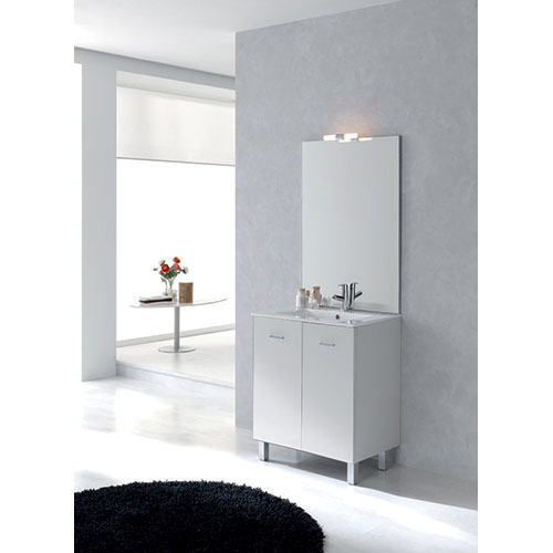 Meuble salle de bains new york blanc brillant 990700 for Salle de bain new york