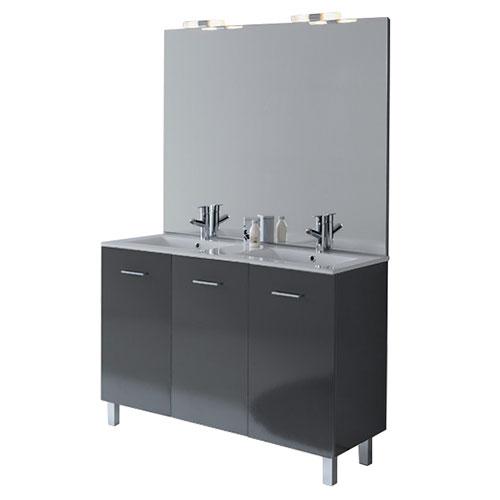 Meuble salle de bains new york graphite brillant 991120 for Salle de bain new york