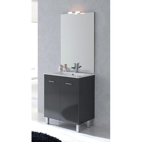 Meuble salle de bains new york graphite brillant 991700 for Salle de bain new york