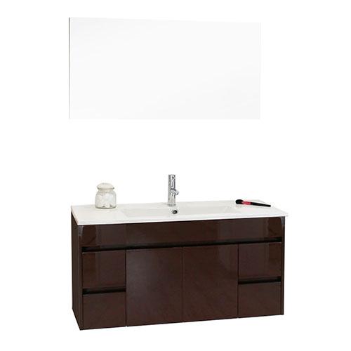 meuble salle de bains a suspendre nina 100 cm marron glace 99310